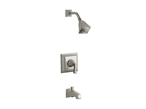 Kohler TS461-4V-BN Memoirs Series Deco Lever Handle, spout, 2.5 gpm showerheadStately Rite-Temp Bath and Shower Valve Trim Brushed Nickel