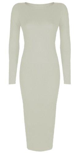 Baleza Women's Inspired Long Sleeve Bodycon Midi Calf Length Dress L/Xl 16-18 Cream