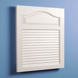 Jensen 615 Basic Louver Grained Wood Look Polystyrene Recessed Medicine Cabinet, White