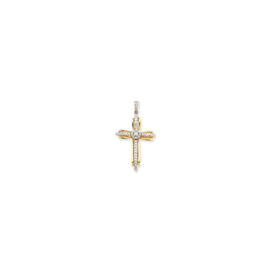 14k Two Tone Gold Diamond Passion Cross Pendant Jewelry