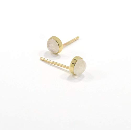 14K Gold Moonstone Studs Earrings - 14K Solid Yellow Gold Studs, Tiny 4mm Natural Stone, Genuine White Moonstone Gemstone, Happy Birthday Gift for Nephew, Granddaughter, Girls and Young Women
