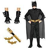 Batman Costume Bundle Set - Toddler 3T-4T - Includes Costume, Gloves, and Batarangs ()