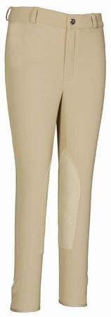 Tuffrider Ribb Knee Patch Breech - TuffRider Kid's Ribb Knee Patch Breeches, Light Tan, 10