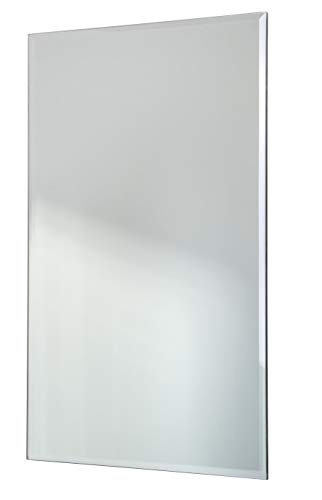 Modern Minimalist Rectangular Mirror, Frameless with Beveled Edge, Large, 12x18 - Frameless Wide 18 Mirrors Bathroom