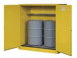 Justrite 110 Gallon Yellow Sure-Grip EX 18 Gauge Cold Rolled Steel Vertical Drum Safety Cabinet With (2) Self-Closing Doors, (1) Shelf And Drum Rollers (For Flammable Liquids)