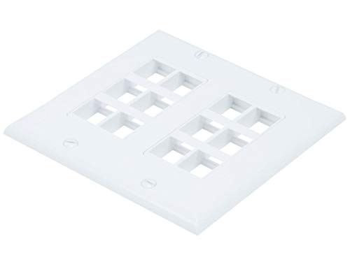 - Monoprice 2-Gang Wall Plate for Keystone  12 Hole - White