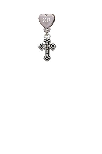 Small Botonee Cross with Beaded Decoration Custom Year Stainless Steel Heart Bead Charm