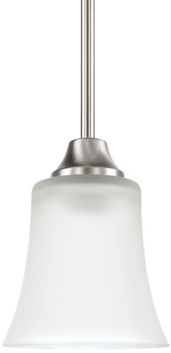 (Sea Gull Lighting 69806BLE-962 Pendant with Satin EtchedGlass Shades, Brushed Nickel)