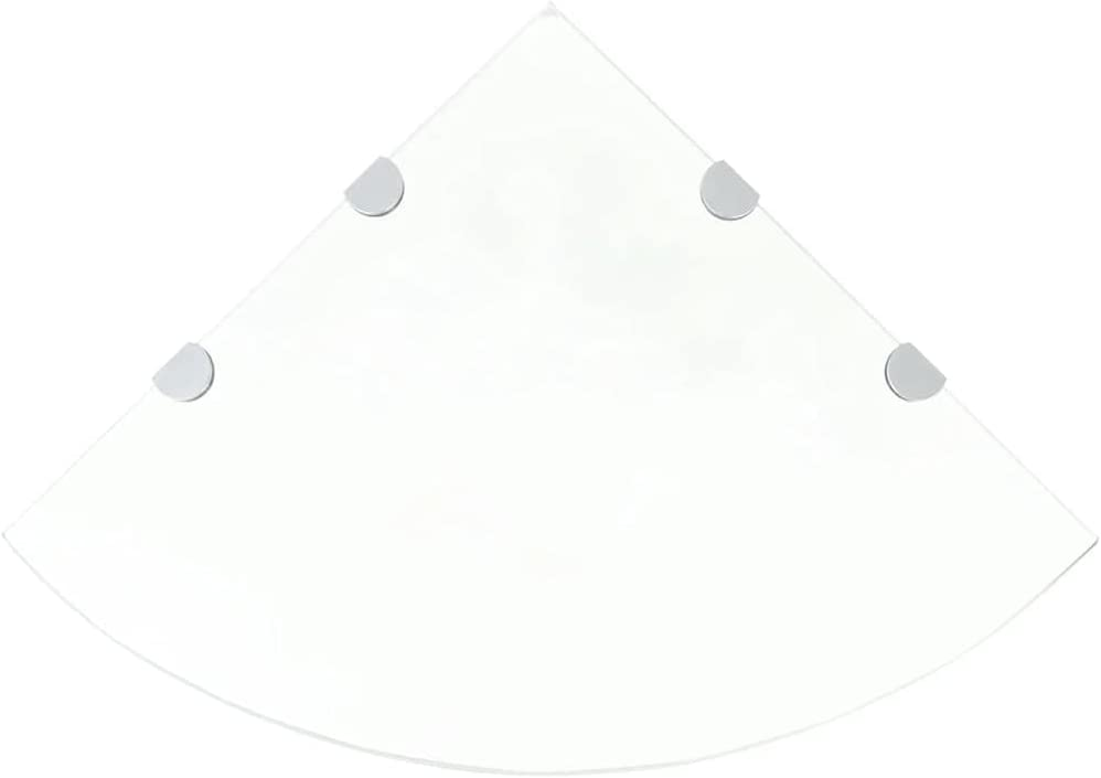 "Corner Shelves 2 pcs with Chrome Supports Glass Clear 17.7""x17.7""Glass Floating Shelves Bathroom Shelf Bathroom Storage Organizer Shelf"