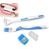 Dental Oral Hygiene Care Kit Tooth Brush Tongue Cleaner Tongue Scraper Floss Travel Case Teeth Whitening