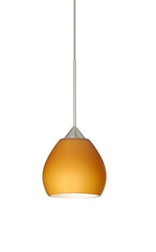 Besa Lighting 1XT-560580-LED Tay Tay 1 Light LED Cord-Hung Mini Pendant with Amb, Satin Nickel ()