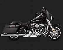 """Vance & Hines Compatible with Chrome Eliminator 400 4"""" Round Slip-On Mufflers for '95-'16 FLH/T"""