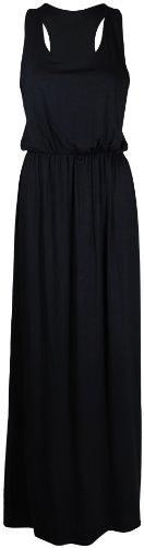 [PurpleHanger Women's Toga Racer Back Plain Long Vest Maxi Dress Black 4-6] (Black Toga Dress)