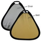 Fotodiox 2-in-1 Teardrop Reflector, 24-Inch Silver Gold 2-in-1 Collapsible Disc