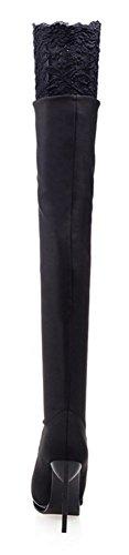Chfso Kvinna Elegant Stilett Solid Rund Tå Spets Hög Klack Plattform Pull På Höga Stövlar Svart