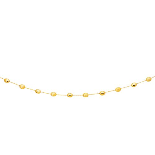 14K Yellow Gold Necklace with Polished and Textured Pebble Stations 14k Yellow Gold Pebble