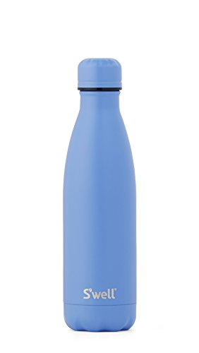 S'well Vacuum Insulated Stainless Steel Water Bottle, Double Wall, 17 oz, Monaco Blue with Matching Cap