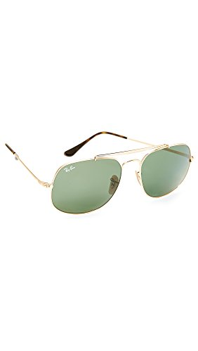 Ray-Ban Men's The General Square Aviator Sunglasses, Gold/Green, One - Ban Ray Square Aviator