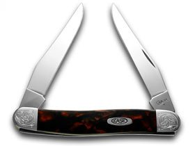 (CASE XX Engraved Bolster Series Black Lava Scrolled Muskrat Pocket Knife Knives)