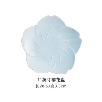 (Japanese cherry blossom ceramic dish creative meal afternoon tea plate dish household personality flat tableware snack plate 11 inch cherry blossom plate - large - blue -1 28.5x3.5cm)