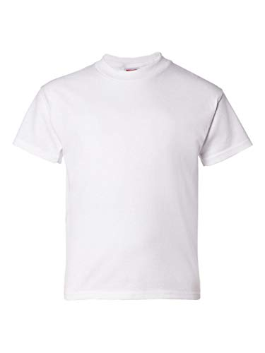 Sleeve Crewneck Short T-shirt Pique (Hanes Big Boy's ComfortSoft Heavyweight T-Shirt, White, S)