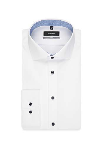Mit Langarm Blanc 1 Seidensticker slim Bügelfrei Uni kragen X Homme Business Kent Chemise Aqq7txPEw