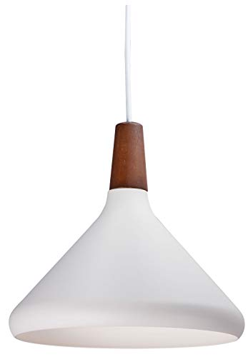 Rivet Modern Natural Wood with Scandinavian-Inspired Metal Spun Shade Pendant with Bulb, 10.75