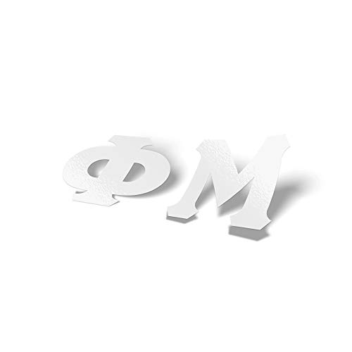 Phi Mu White Letter Sticker Decal Greek 2 Inches Tall for Window Laptop Computer ()