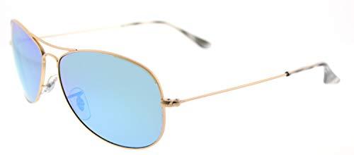 Ray-Ban RB3562 Chromance Mirrored Aviator Sunglasses, Matte Gold/Polarized Blue Mirror, 59 mm (Rb Aviator Small)