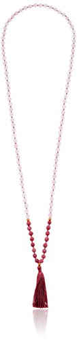Satya Jewelry Rose Quartz Rhodonite Gold Plated Lotus Tassel Mala Strand Necklace
