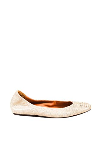 - LANVIN Women's Beige & Metallic Gold Leather Embossed Ballerina Flats SZ 35