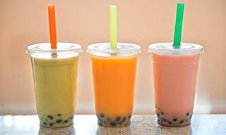 100 Sets 16 oz. Plastic CLEAR Cups with Flat Lids And Fat Straws for Bubble Boba Tea Smoothie By KC ()