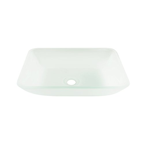 VIGO VG07083 Rectangular White Frost Glass Vessel Bathroom Sink, White Frost/Rectangular White Frost by VIGO