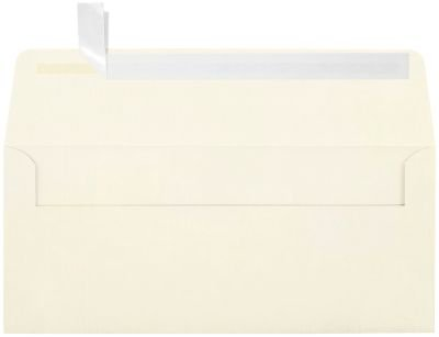 #10 Square Flap Envelopes w/Peel & Press (4 1/8'' x 9 1/2'') - Cream-Colored, Natural White Linen (500 Qty.) | Business | For Checks, Invoices, Letters & Mailings | Printable | 80lb Text Paper | 4860-NLI-500 by Envelopes.com