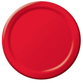 Big Party Pack Paper Dinner Plates, 50 Pieces, Made from Paper, Apple Red, 9