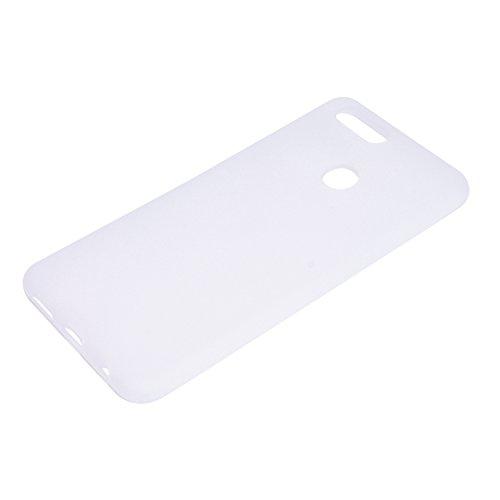 Funda para Huawei Honor 7X , IJIA Puro Azul TPU Silicona Suave Cover Tapa Caso Parachoques Carcasa Cubierta Case para Huawei Honor 7X (5.9) White