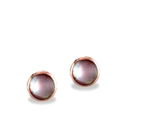 (Kabana 14k Rose Gold Pink Mother of Pearl Inlay Round Stud Earrings )