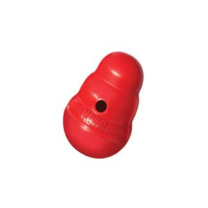 """Kong Wobbler Food and Treat Dispensing Dog Toy red-color- 10.5"""" height x 7"""" width x 6.5"""" diameter"""
