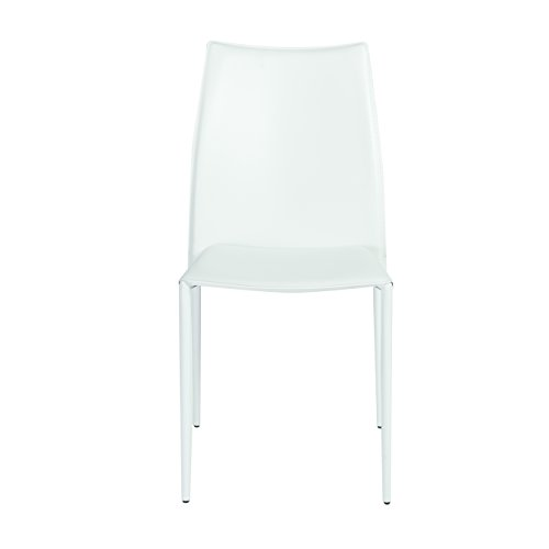 Eurø Style Dalia Leather Stackable Dining Side Chair, Set of 4, White