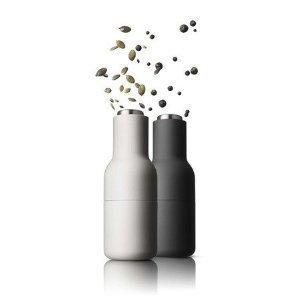 Molinillo de doble botella juego de salero y pimentero pequeños de madera de fresno y carbono