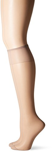 Hanes Silk Reflections Women's Knee High Reinforce Toe 2 Pack, Soft Taupe, One Size