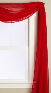 1 X Beautiful Elegant Voile Sheer Valance Scarf 37″ X 216″ Topper neon red bright red scarlet red