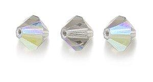 Swarovski 5301 Bicone Diamond Beads, Aurora Borealis, Black Diamond, 6-mm, 12/Pack