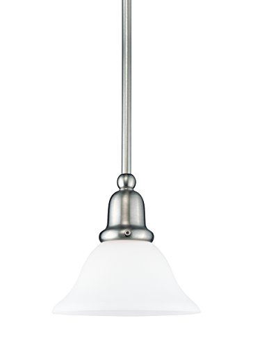 Sea Gull Lighting 69459BLE-962 Single-Light Sussex Fluorescent Energy Star Compliant Mini-Pendant, Satin White Glass and Brushed (Sussex 12 Light)