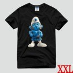 Cute The Smurf Style 100% Cotton Short-Sleeve T-Shirt-Gutsy Smurf Pattern/Size XXL