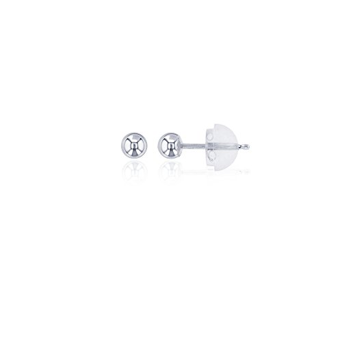 (Decadence 14K Gold White 3mm Ball Stud Earrings and 14K Silicone Back, 3)