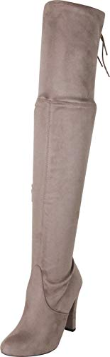 Cambridge Select Women's Closed Pointed Toe Back Corset Lace Chunky High Heel Over The Knee Boot,11 B(M) US,Smoky Taupe IMSU