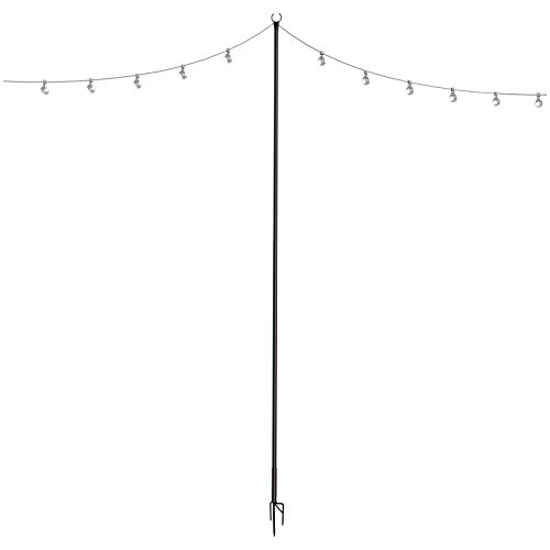 Outdoor String Lights Pole (1 x 8f) - Light Up Patio or Garden with LED Or Solar Hanging Bulbs - 3-Prong 8