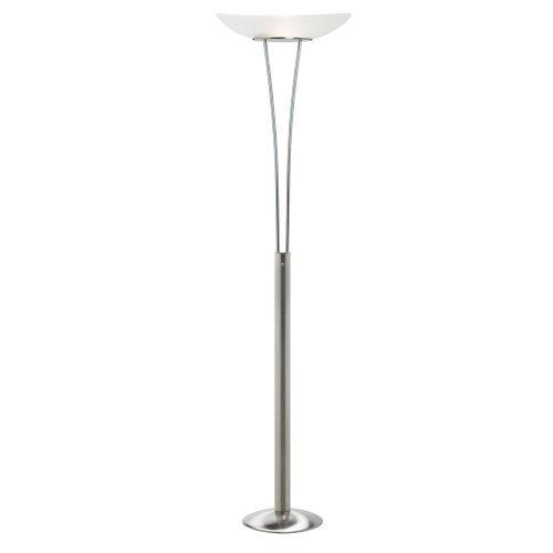 Dainolite DM217F-SC Floor Lamp with White Frosted Glass Shade, Satin Chrome from Dainolite