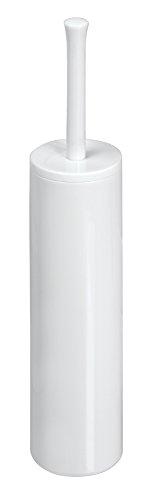 mDesign Slim Toilet Bowl Brush and Holder for Bathroom Storage - White - White Toilet Bowl